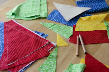 bunting fabric scraps