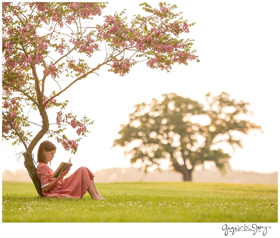 Gigi's Joy Photography: Racine Children Portrait girl reading tree