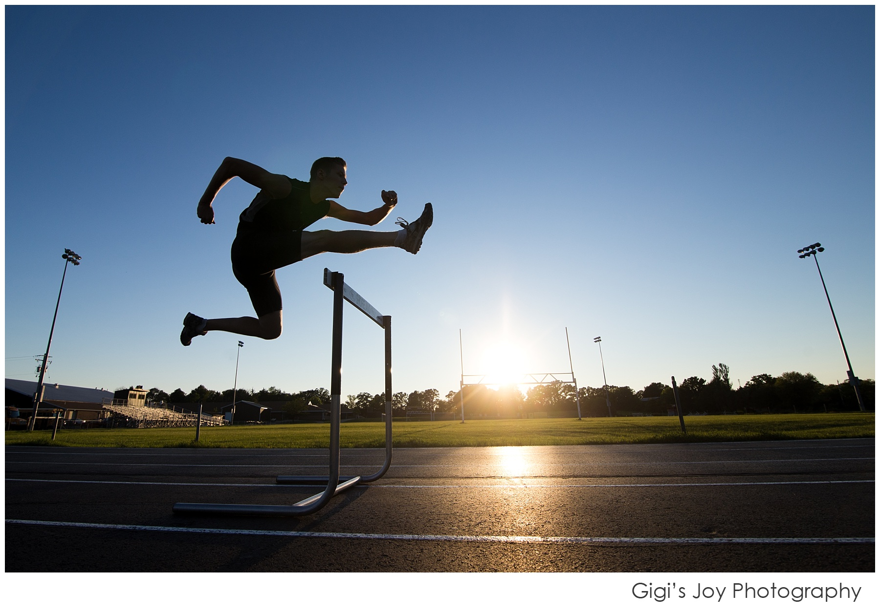 silhouette, sunset, hurdles, track and field, Kenosha